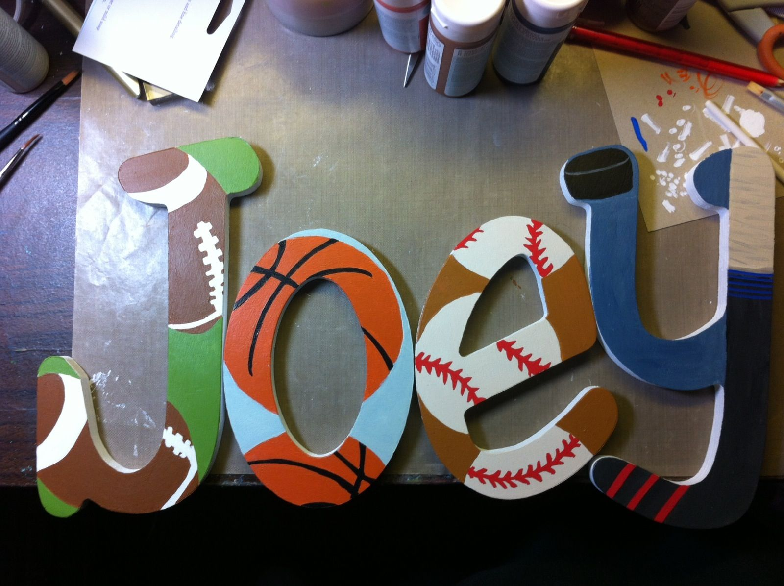 Sports Themed Wood Letters For A Nursey