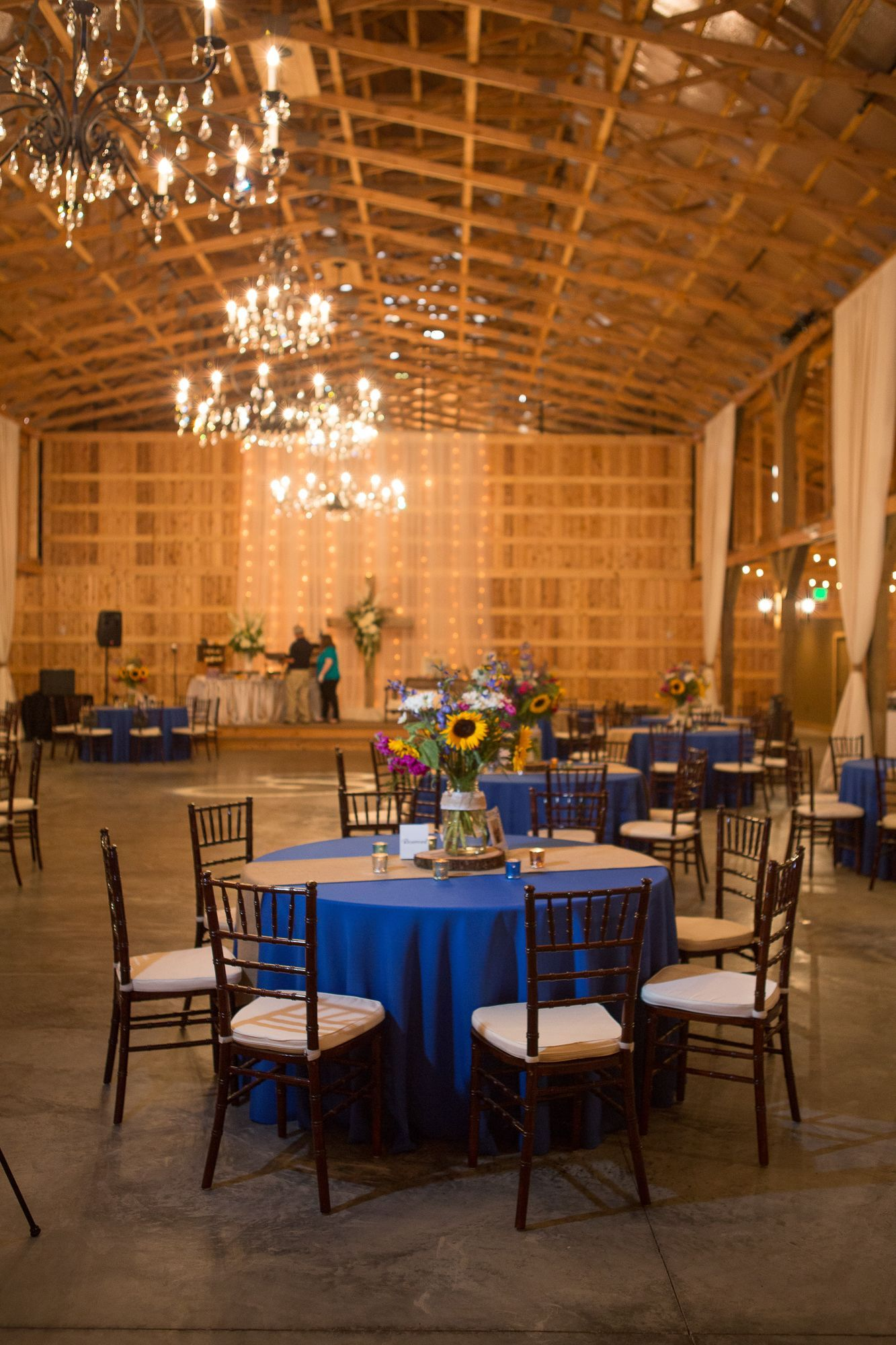 Wedding decorations with royal blue  Royal Blue and Burlap Dining Table  Eagle Receptions  Pinterest