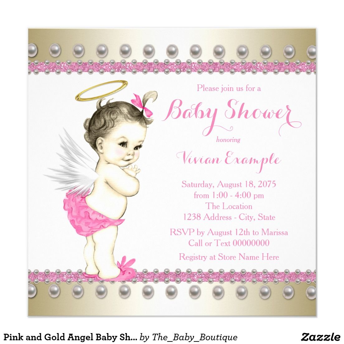 Pink and Gold Angel Baby Shower Invitation | Pinterest | Angel baby ...