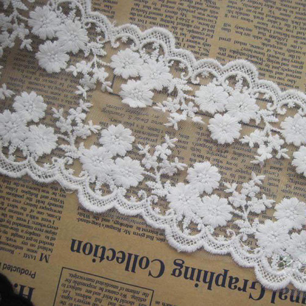 Ivory 4 Yards Lovely Daisy Embroidered Bilateral Mesh Lace Trim Costumes Supplies Craft DIY 4 inches Wide -- Want to know more, click on the image.