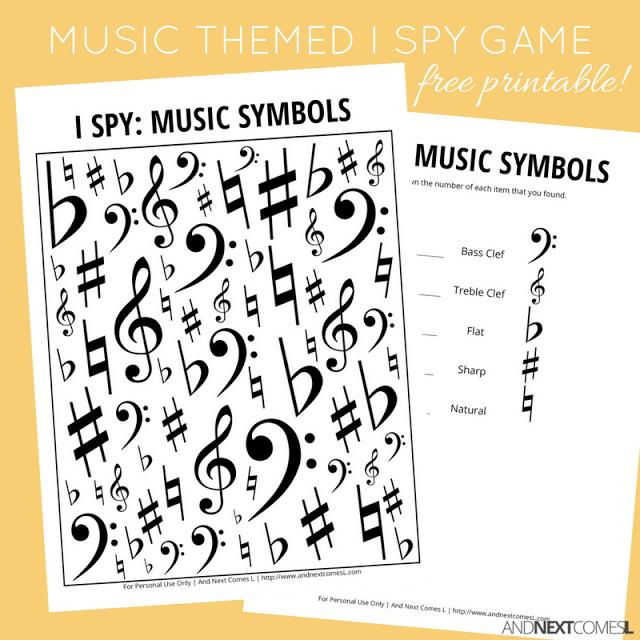 Music Symbols Themed I Spy Game Free Printable For Kids Spy