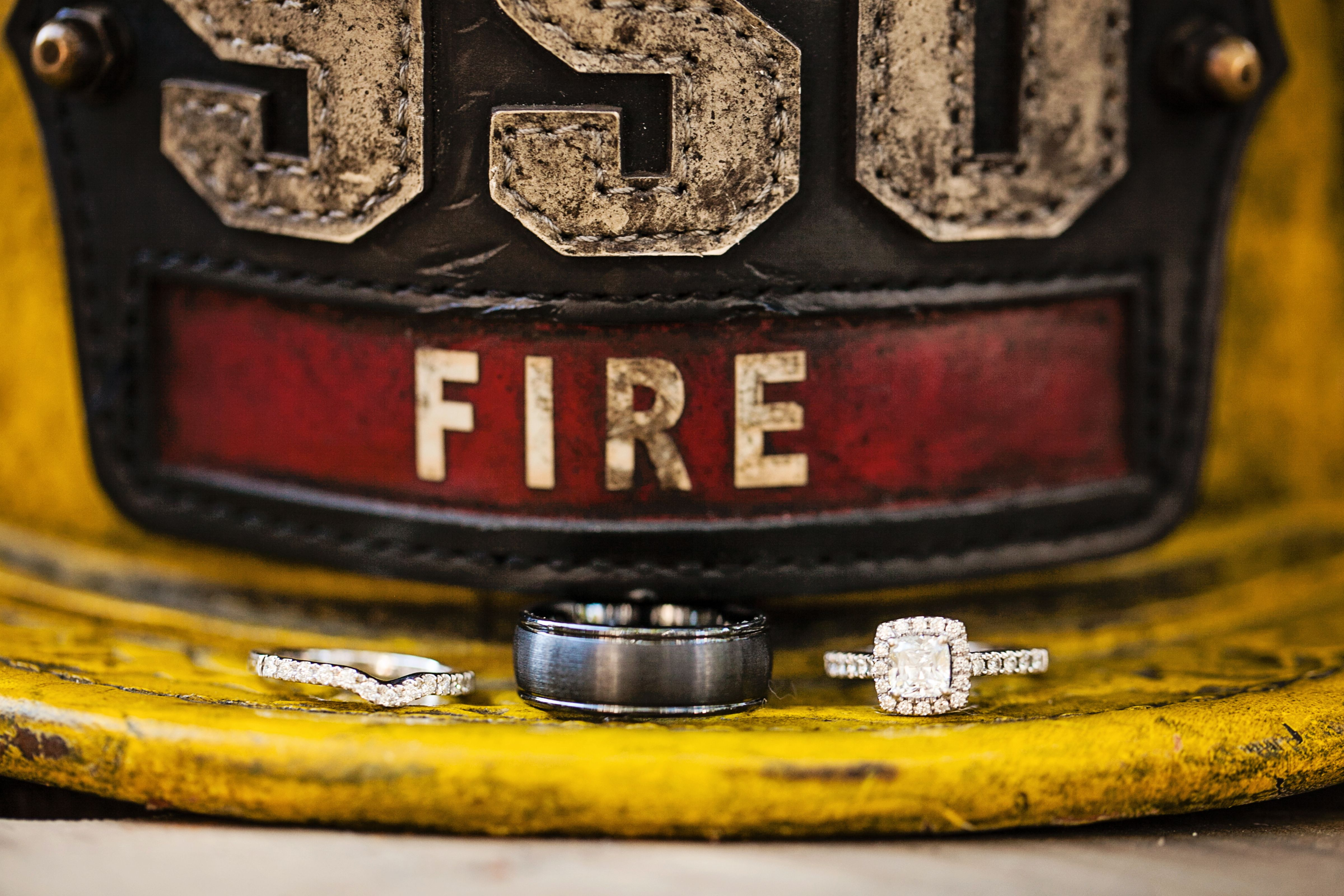 Firefighter Helmet Ring Shot Firefighter Wedding Photo By Macon  Photography