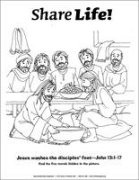 Share Life! Coloring Page - Jesus Washes the Disciples\' Feet ...