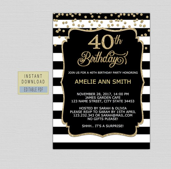 40th Birthday Invitations For Women Invites Instant Download Forty Invite T