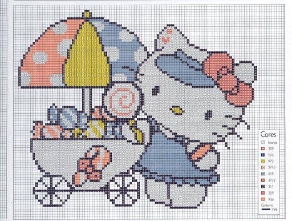 hello kitty  kitty y mary  Pinterest  Punto de cruz Puntos y