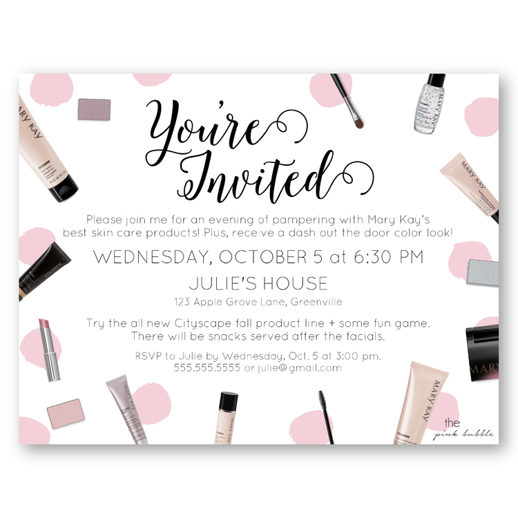 Product Party Invite DI01png mary kay Pinterest Mary kay