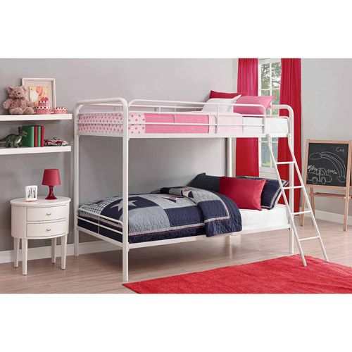 Dhp Twin Over Twin Metal Bunk Bed Frame Multiple Colors Walmart Com Metal Bunk Beds Bunk Beds Kids Bunk Beds