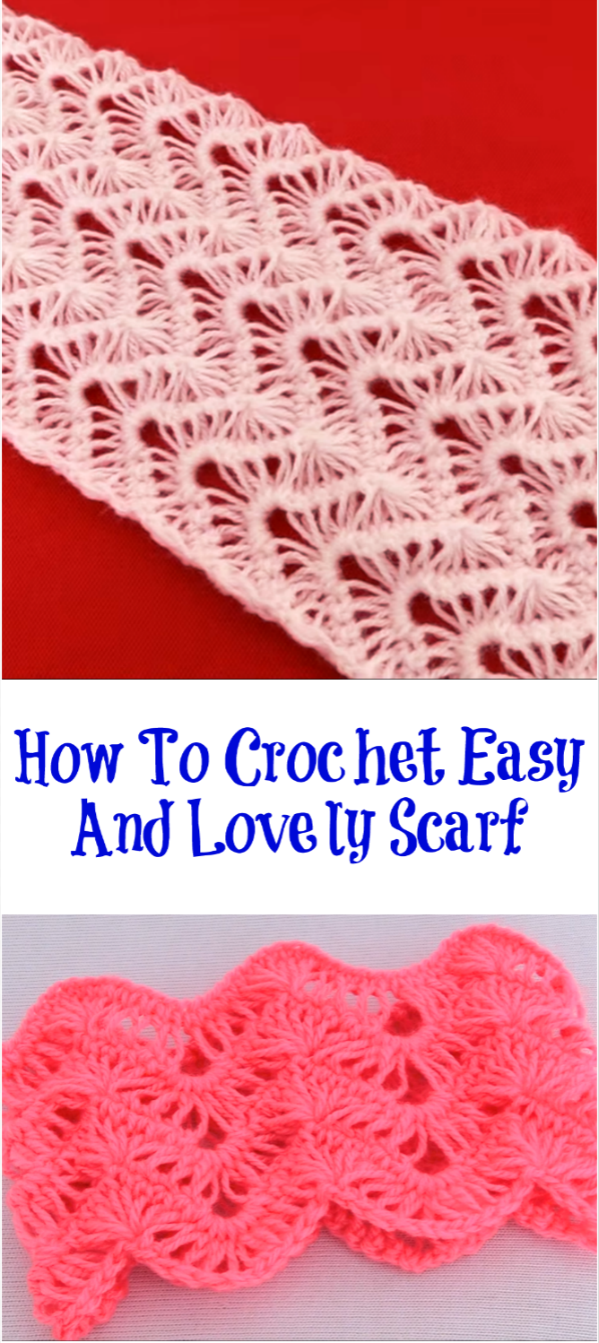 how to crochet easy and lovely scarf | flores de vroche | Pinterest ...