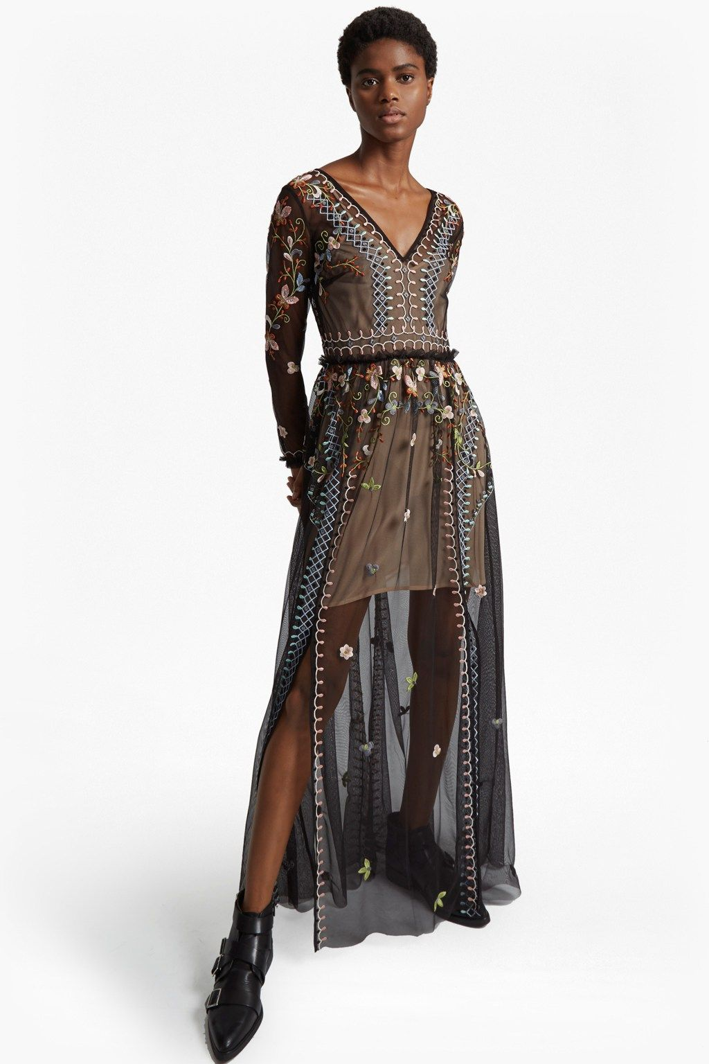 Bijou stitch long sleeved v neck maxi dress with images