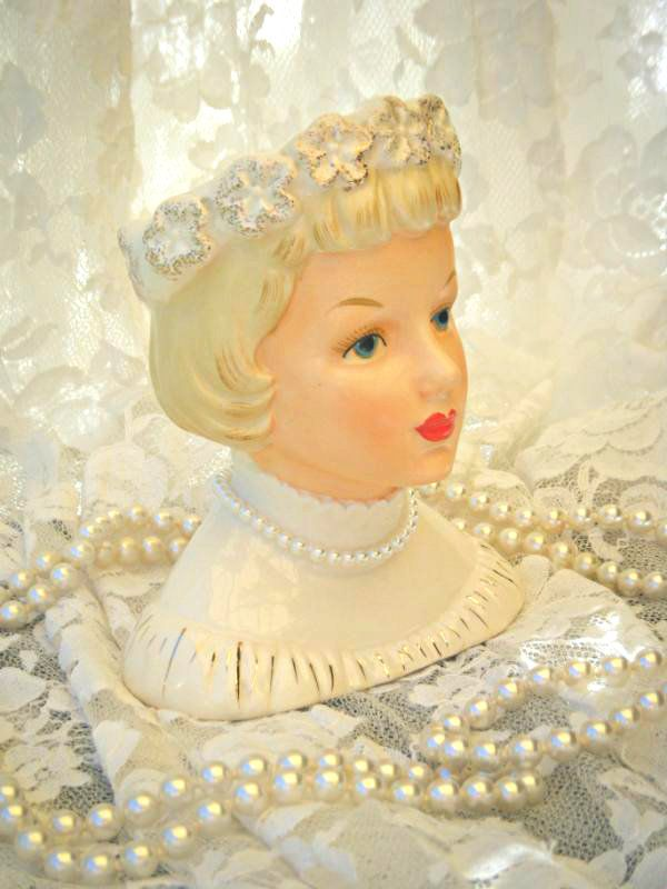 Gorgeous Hard To Find Vintage Napco Lady Head Vase Excellent