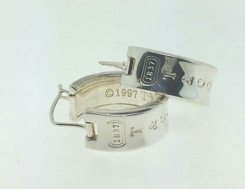 b33ffe71f Authentic Vintage Tiffany & Co medium T&CO 1837 925 9mm wide hoop earring  MINT #TiffanyCo #Hoop #vintage #earrings www.treasurestoseek.com