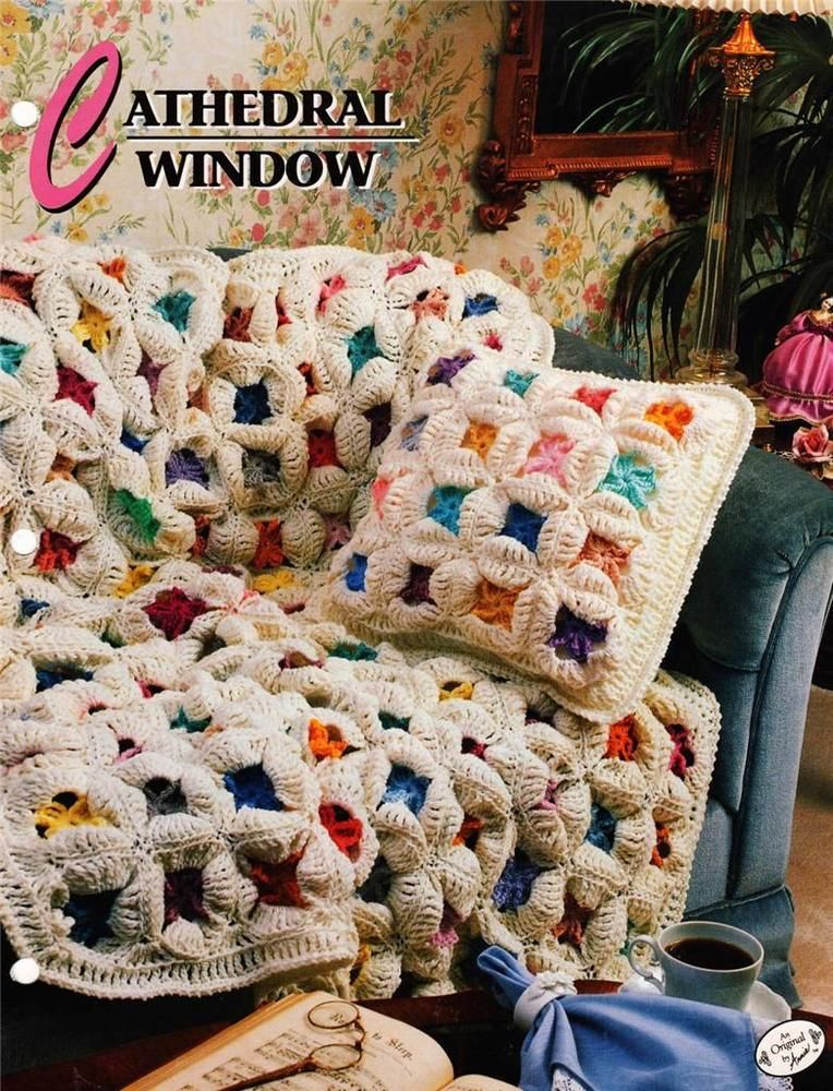 Cathedral Window Annie\'s Attic Crochet Afghan Pattern Instruction ...