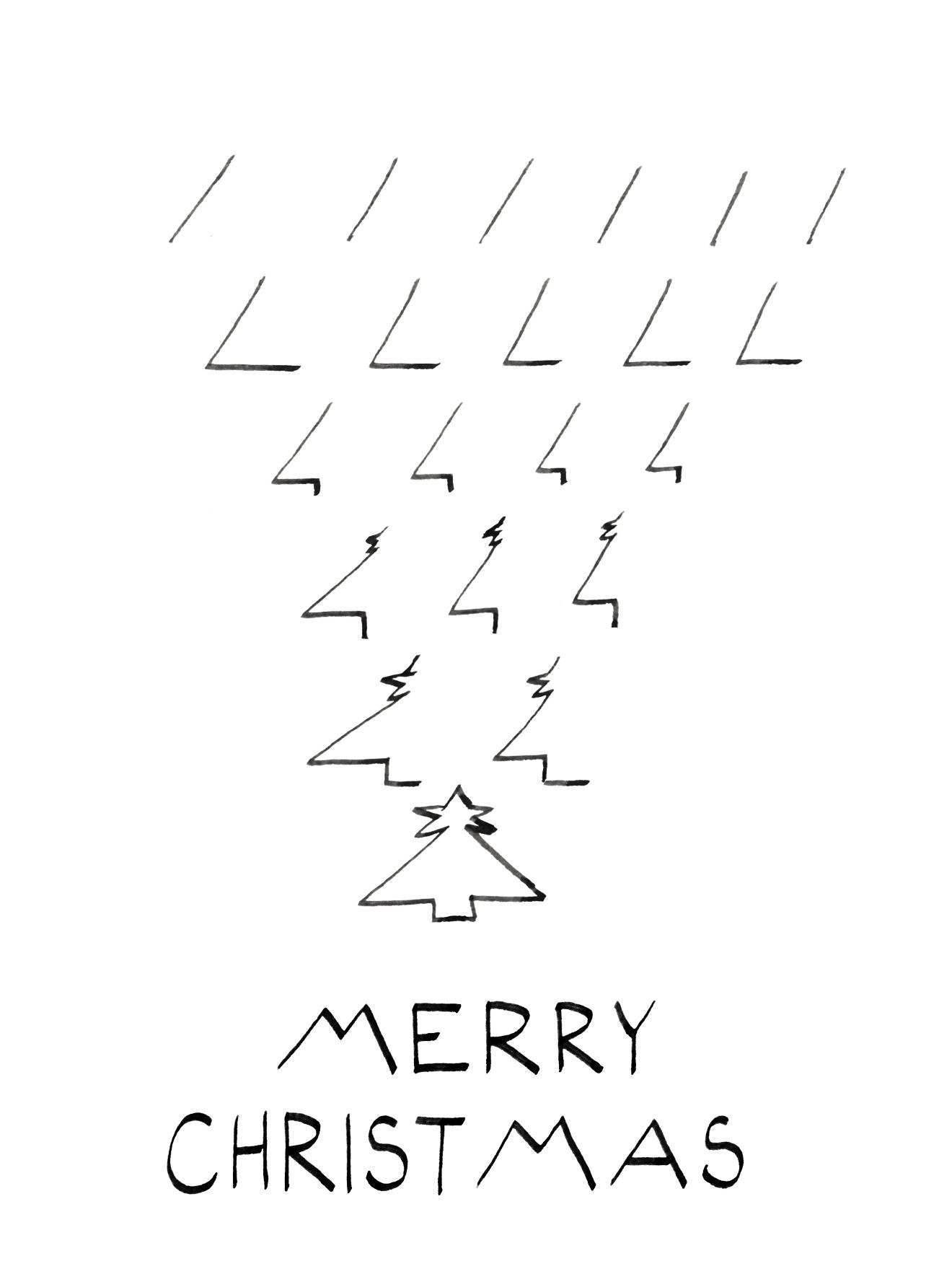 Minimalistic black and white Christmas card, Christmas Tree line ...