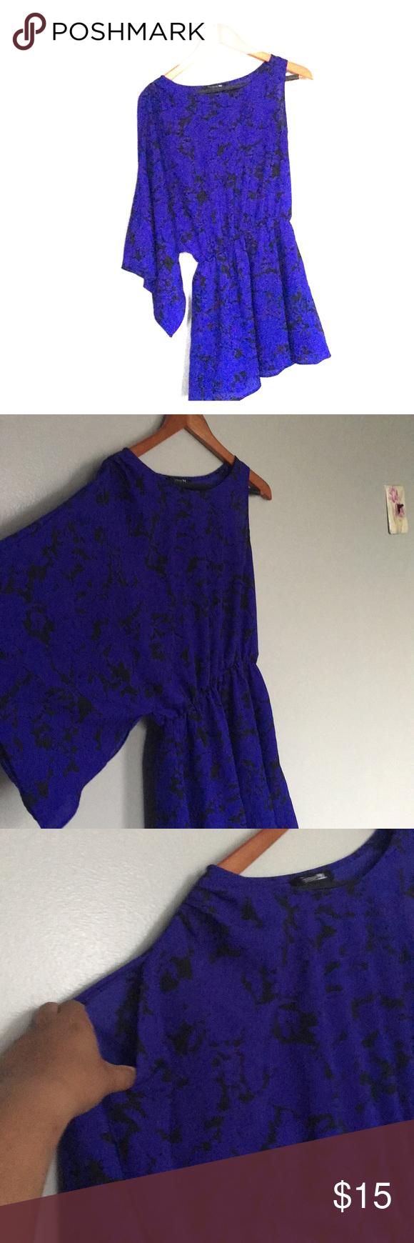 Shoulder Cape Royal Blue Blouse Forever 21 My Posh Closet Blue