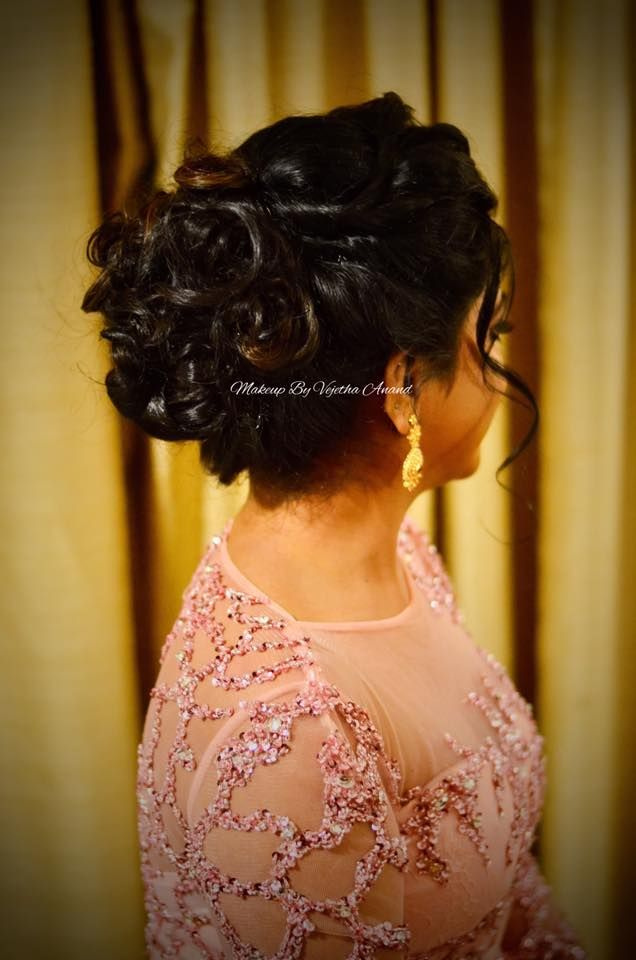 Indian Brides Reception Hairstyle By Vejetha For Swank Studio - Bun hairstyle for reception