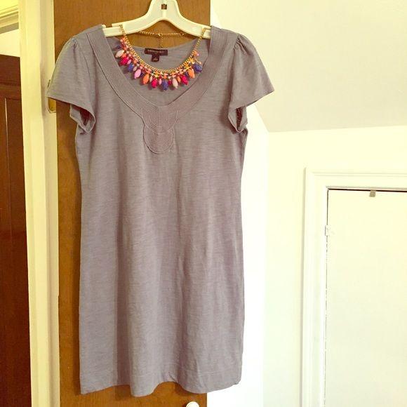 Banana Republic T-Shirt Dress Super cute grey t-shirt dress. Nice detailing around the collar. 100% cotton. Knee length. Banana Republic Dresses Mini