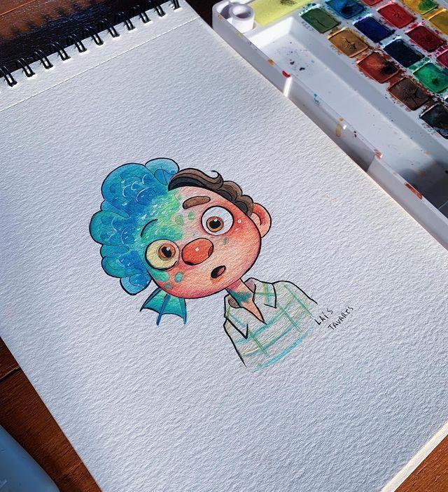 """Lai�s Tavares Brasil � on Instagram: """"Esse fim de semana eu assisti o filme Luca da Pixar e eu achei muito bonito o concept dos personagens e resolvi fazer essa #fanart do Luca.…�"""