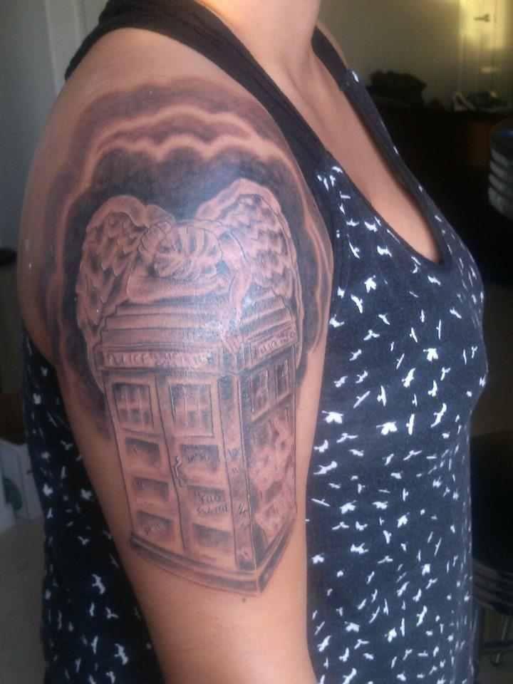 my doctor who tattoo (tardis, weeping angel,