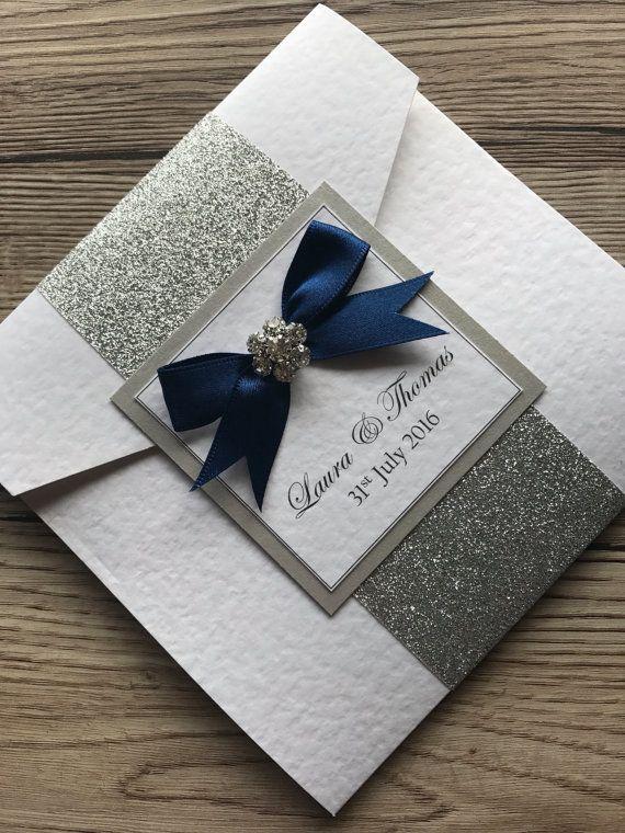 glitter pocketfold wedding invitation sample