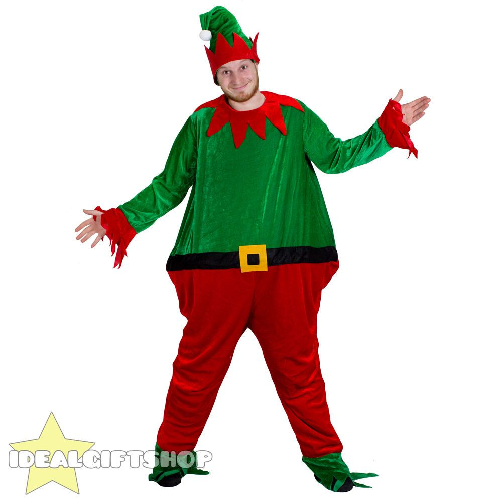 FAT ELF CHRISTMAS FANCY DRESS COSTUME & HAT XMAS PIXIE COSTUME NOVELTY  OUTFIT