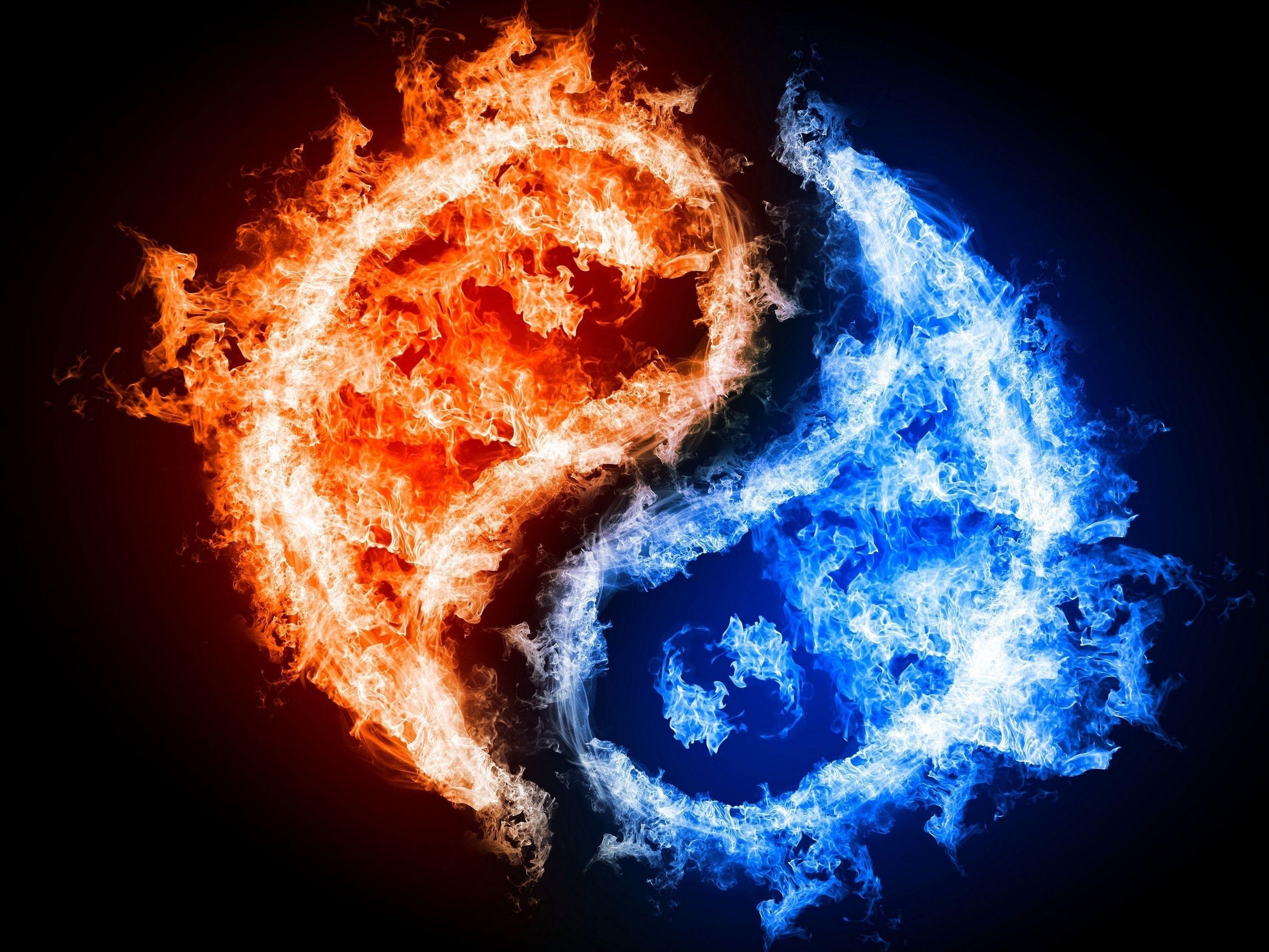 Red & Blue Fire Ying Yang | Graphics Design | Pinterest | Yin yang ...