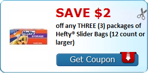 image relating to Hefty Printable Coupons identify Preserve $2.00 off any 3 (3) applications of Hefty® Slider Baggage
