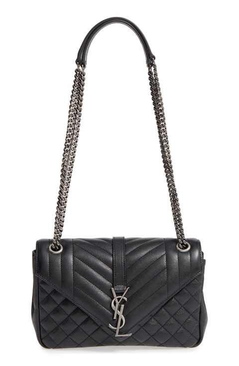 b14195216b Saint Laurent Medium Monogram Quilted Calfskin Shoulder Bag