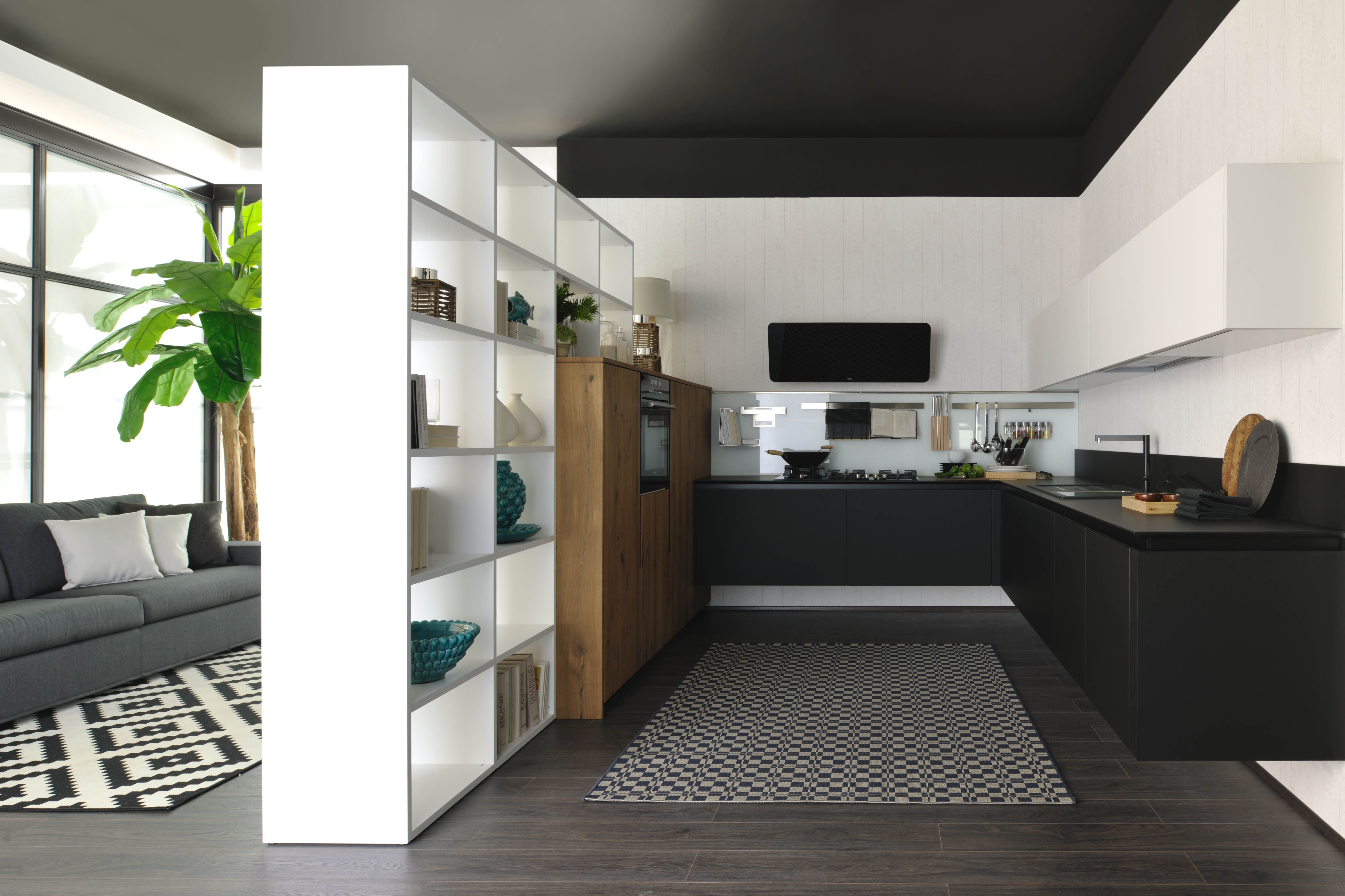 Oltre, the new kitchen concept by Cucine Lube. FENIX NTM Nero Ingo ...