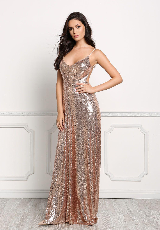 Loveculture Rose Gold Long Slip Sequin Dress Anne De Paula 8e6eb65213f27ec47594d99e44b17399 Product Page Long Sequin Dress Shiny Dresses Dresses