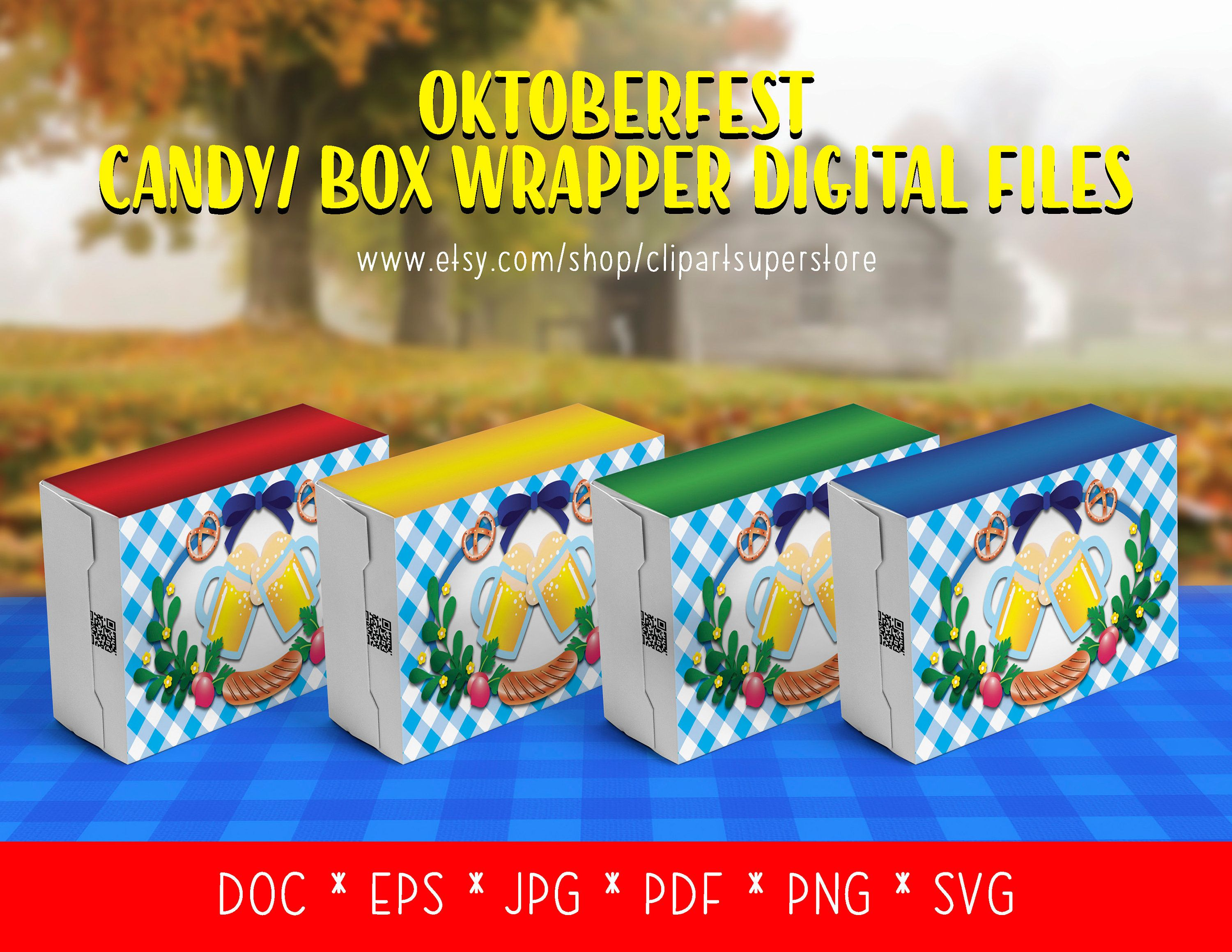 Oktoberfest Candy Box Wrappers SVG EPS DOC Instant