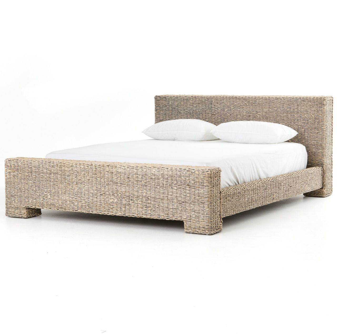 Bali Woven Rattan Queen Platform Bed - Gray Abaca (https://www ...