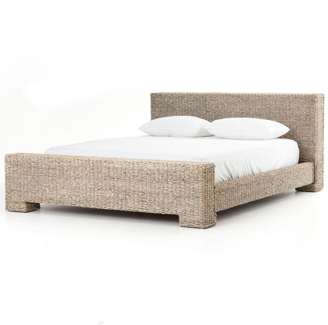 bali woven rattan queen platform bed gray abaca httpswww