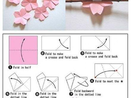Origami Cherry Blossom Flower | Origami | Cherry blossom ... - photo#5