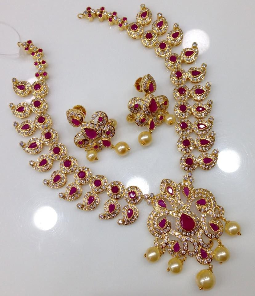 uncut model ruby stone necklace with pearl drops and