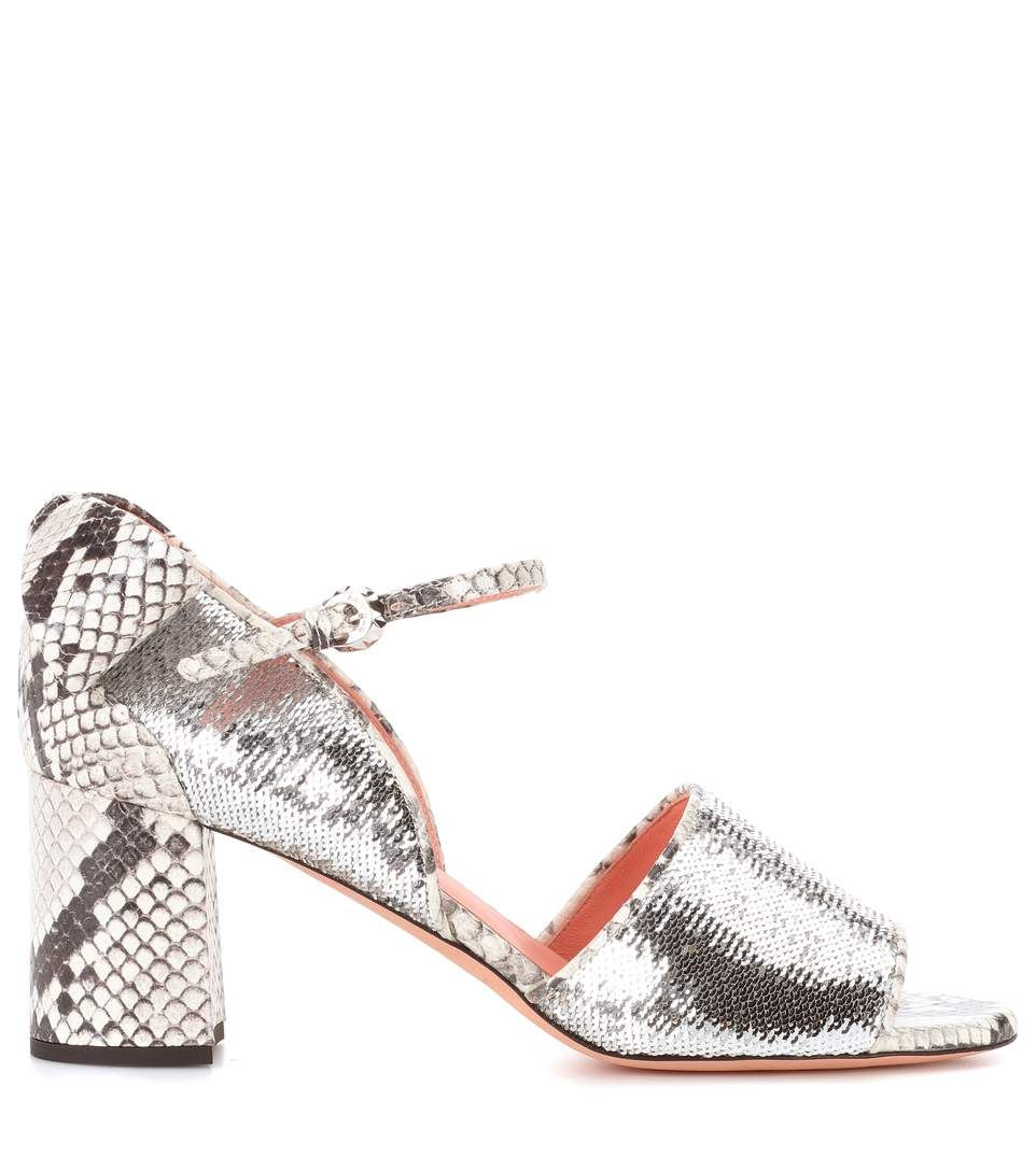 best store to get sale online Rochas Sequin embellished leather sandals cost cheap price sale countdown package clearance pay with visa F9qzGC