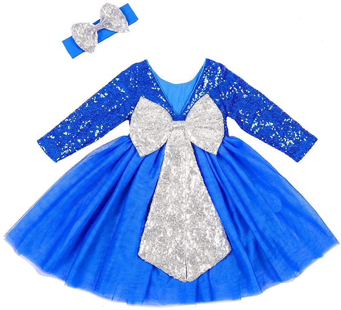 Amazon Com Cilucu Flower Girl Dress Sequin Dress Baby Toddler Long Sleeve Dress Tutu Kids Party Birthd Girls Long Sleeve Dresses New Years Dress Toddler Dress [ 1000 x 1098 Pixel ]