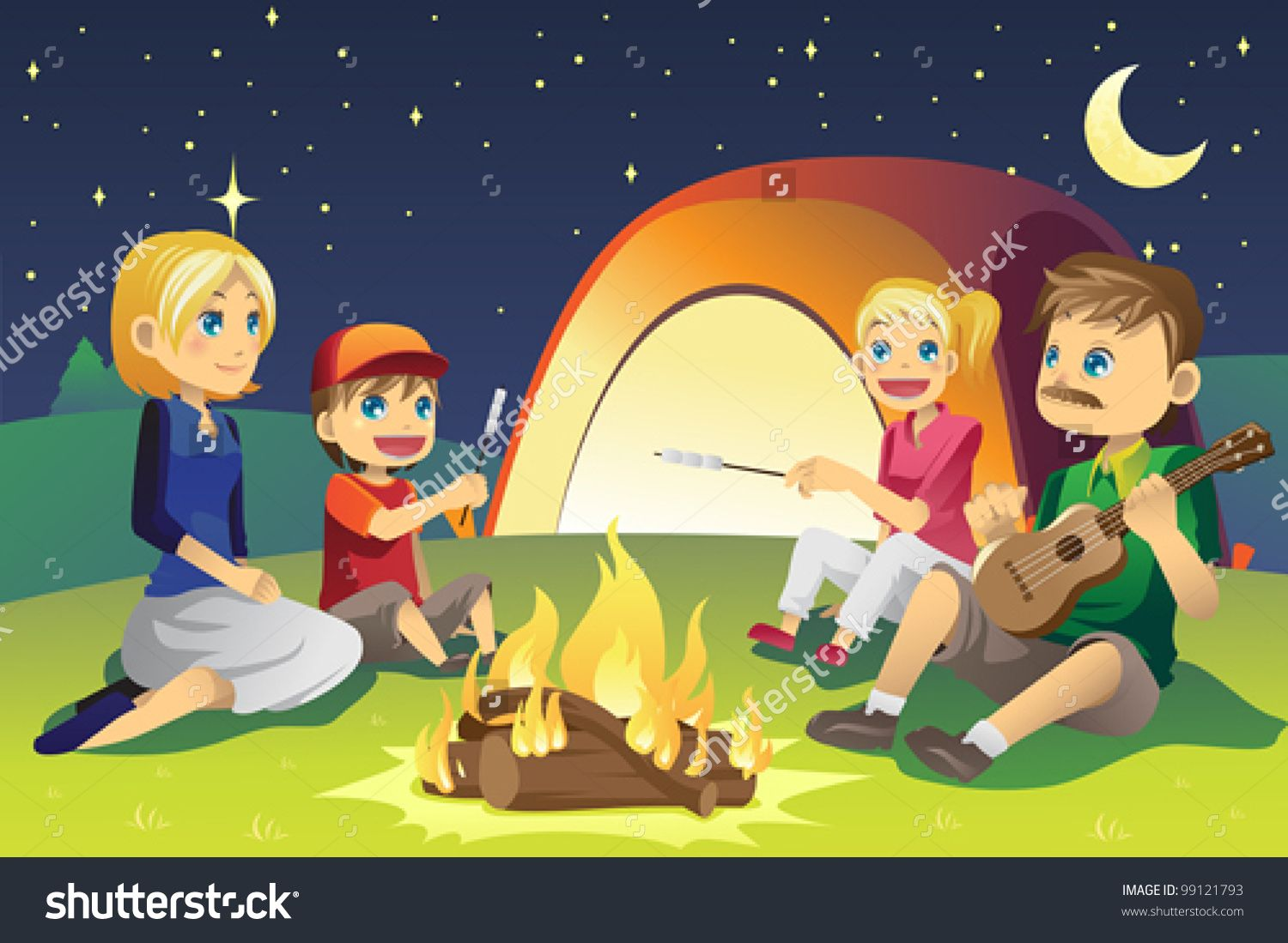 A Vector Illustration Of A Family Camping Camping Cartoon Backyard Camping Family Camping Gear