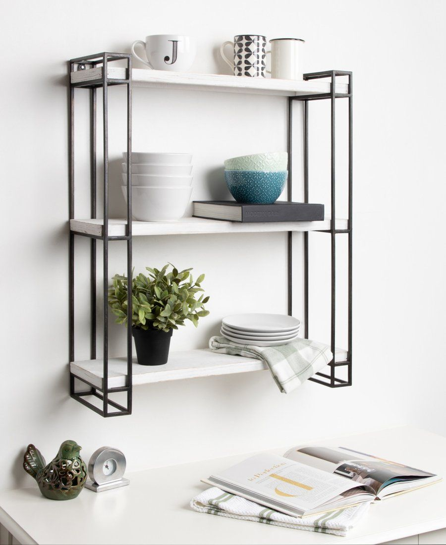 Lintz Wood And Metal Floating Wall Shelves Decorative Shelving Floating Wall Shelves Shelves