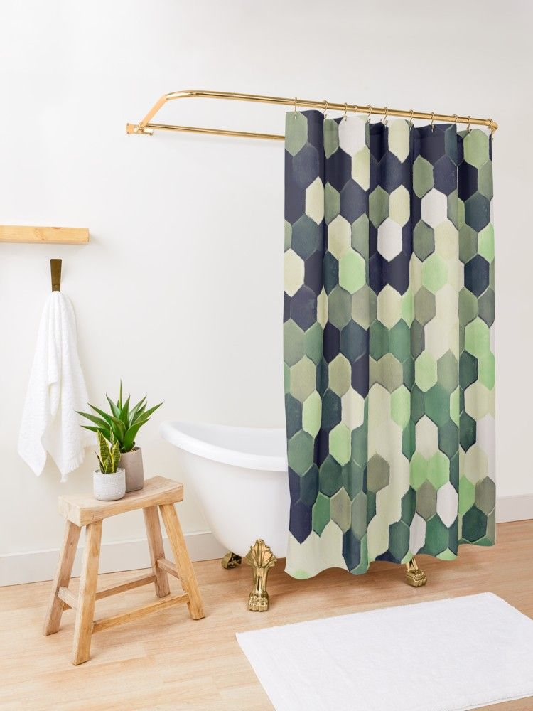 Honeycomb Pattern In Peppermint Green And Black Shower Curtain By