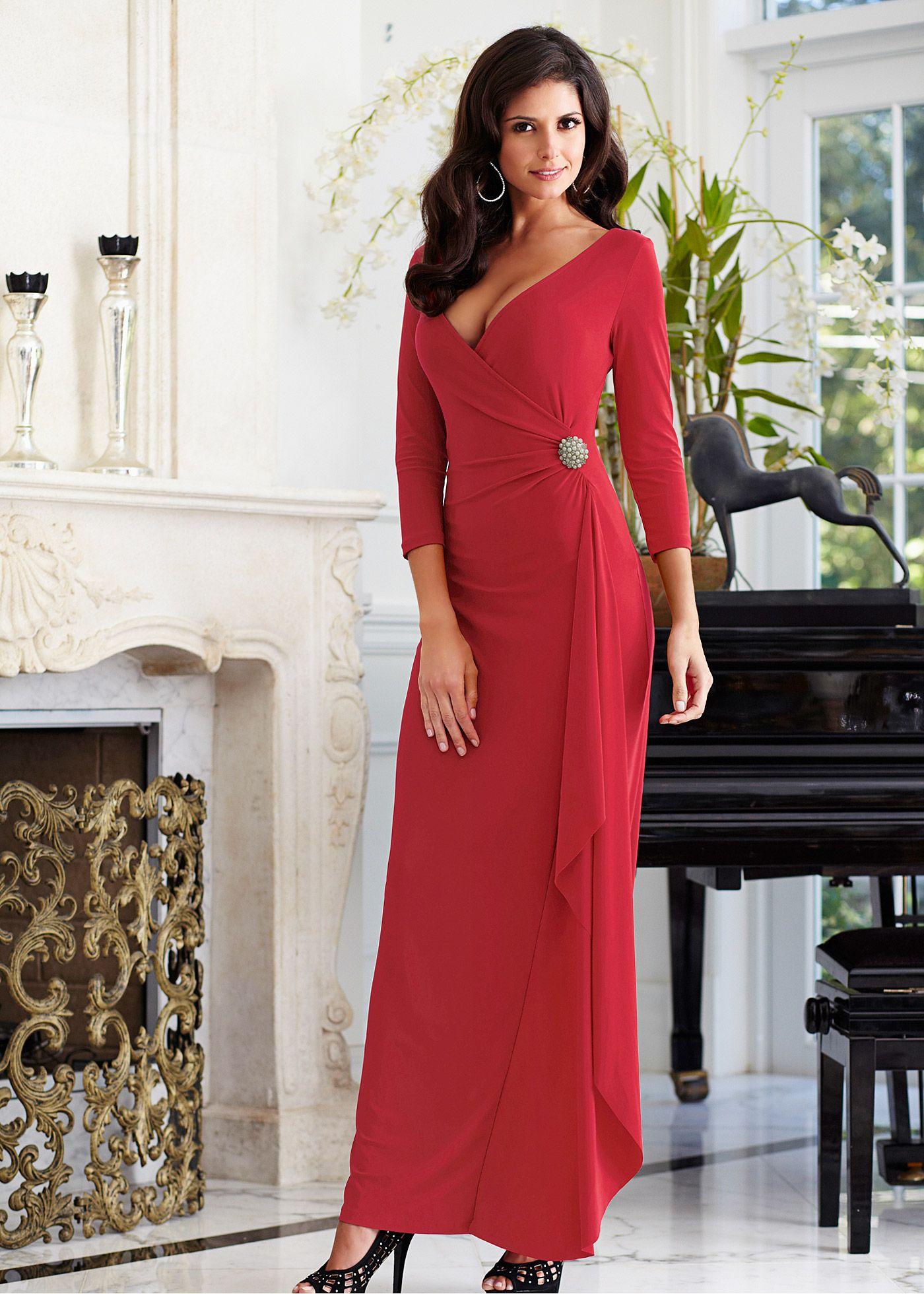 2e42cf5168 Vestido envelope longo vermelho-escuro encomendar agora na loja on-line  bonprix.de R  179