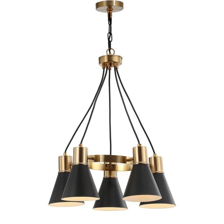 JONATHAN Y Lighting JYL6135A Black / Brass Gold 5 Light 22