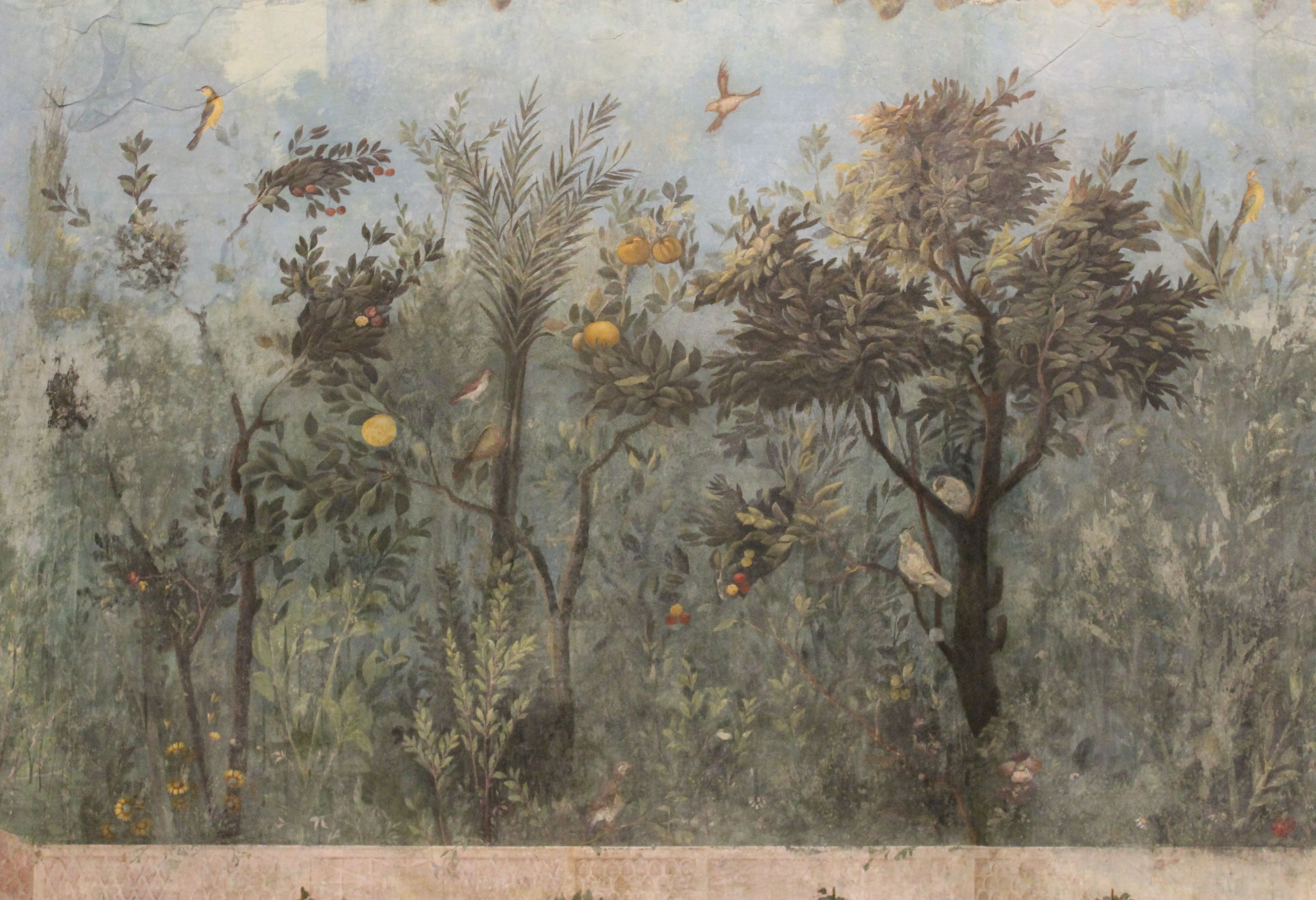 ANCIENT ROMAN FRESCO PAINTING OF GARDEN /& FRUIT TREES ROME ART REAL CANVAS PRINT