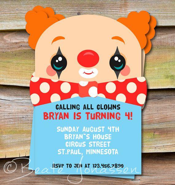 printable clown birthday invitation by cutememories on etsy 11 00