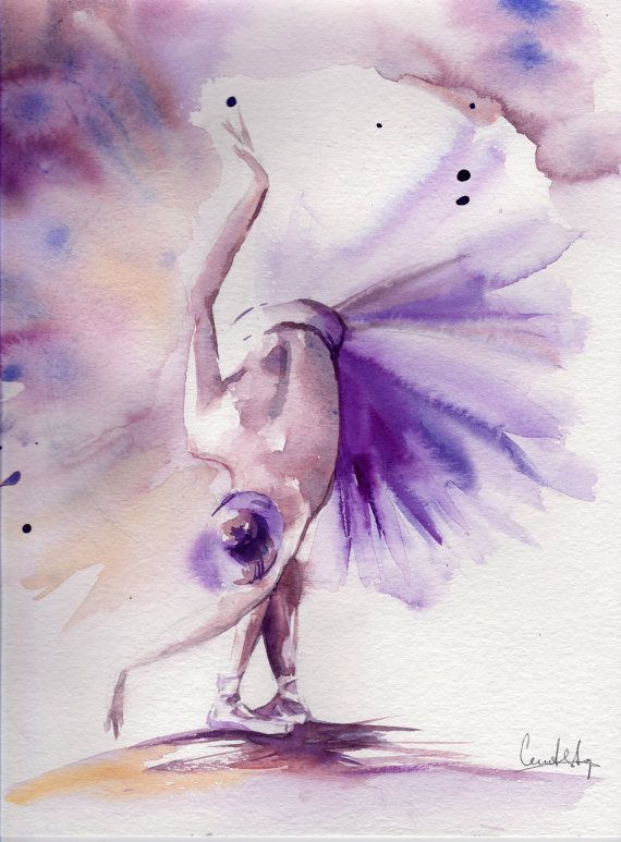 Original Watercolor Painting Of Ballerina In Purple Dance Ballet