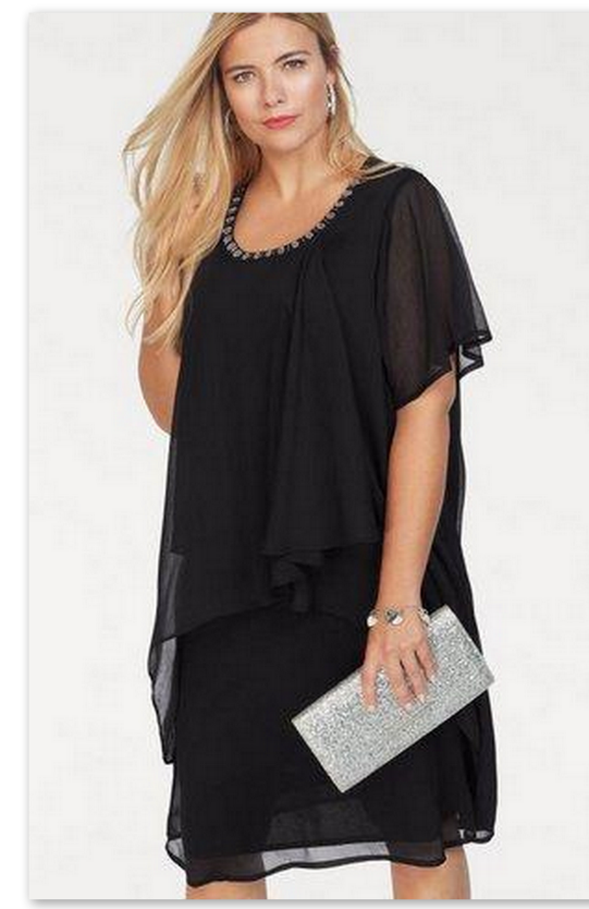 Kleid Gr 50 52 54 56 Knielang Strass Abendkleid Chiffon Festlich Damen Lagen Neu Ebay Open Shoulder Tops Tunic Tops Fashion