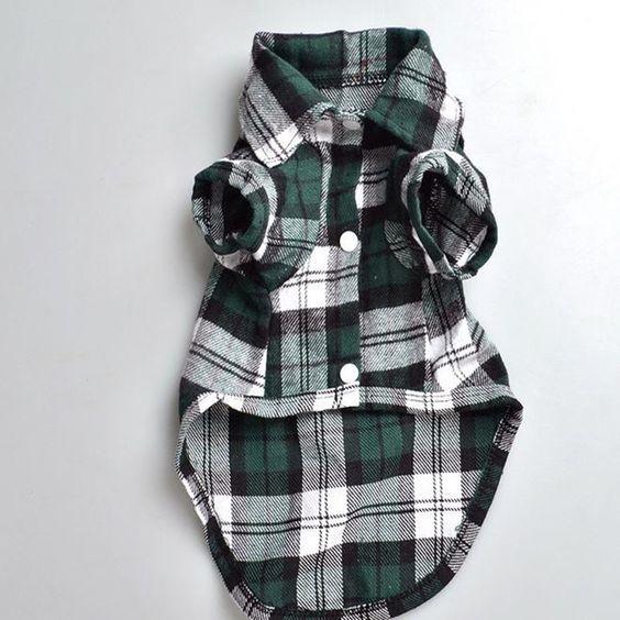 Plaids Grid Checker Shirt Lapel Costume Dog Clothes