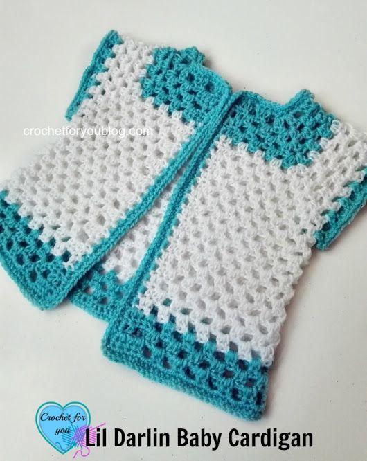 Crochet Lil Darlin Baby Cardigan - free pattern | bebe | Pinterest ...