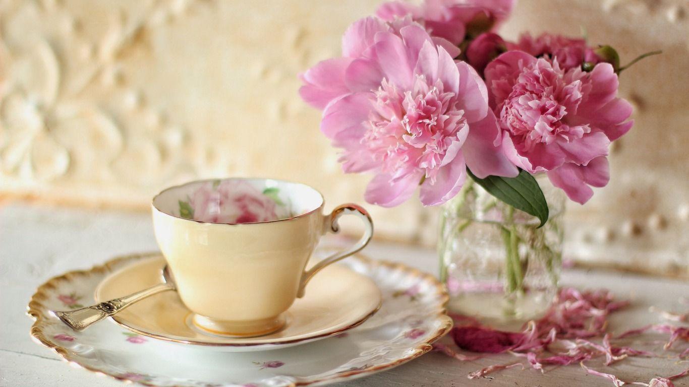 Обои цветы, блюдце, пионы. Разное foto 6