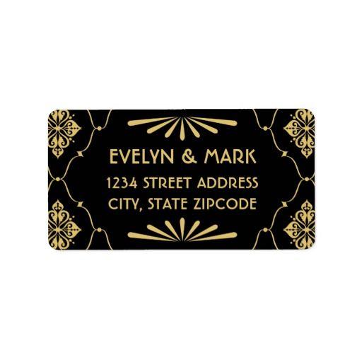Elegant Vintage Retro Art Deco Style Gold on Black Personalized - return address label template