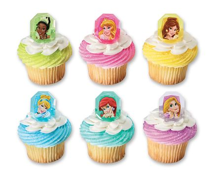 Disney Princess cupcakes with 'gemstone' cupcake rings featuring Tiana, Aurora, Belle, Cinderella, Ariel, and Rapunzel.